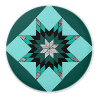 Green and White Quilt Design Knobs