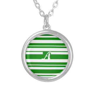 Green and White Random Stripes Monogram Personalized Necklace