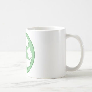 Green and White Recycle Sign Coffee Mugs