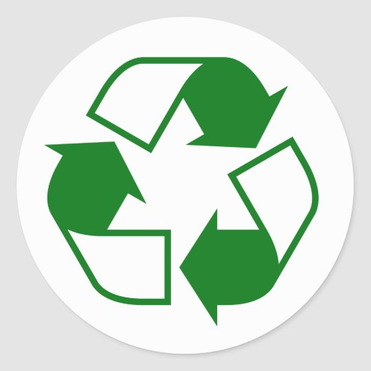Green and white recycling symbol classic round sticker