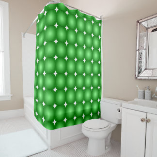 Green And White, Round Edges Shower Curtain