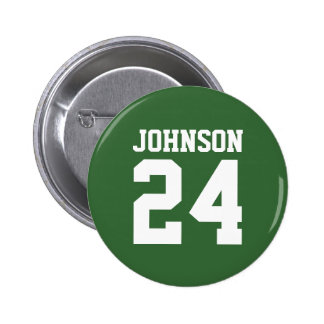 Green and White School Spirit Personalized Team 6 Cm Round Badge