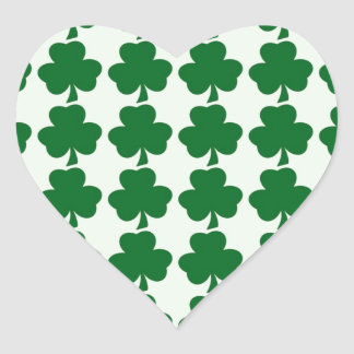 Green and White Shamrock Pattern Template Heart Sticker