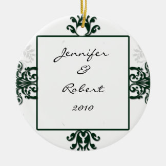 Green and White Silver Damask Christmas Ornament