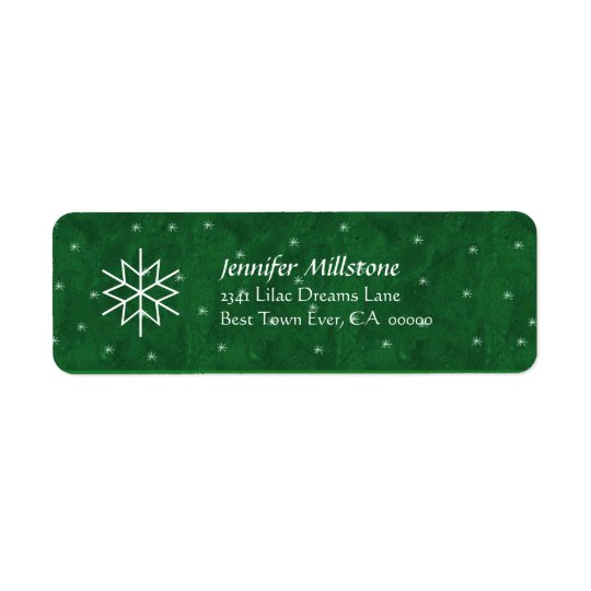 Green and White Snowflakes Address Label