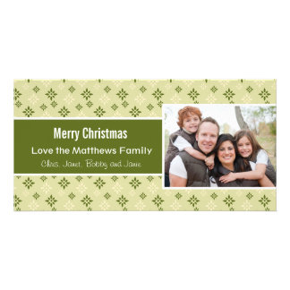 Green and White Snowflakes Holiday Christmas Card Photo Cards