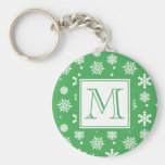 Green and White Snowflakes Pattern 1 with Monogram Basic Round Button Key Ring