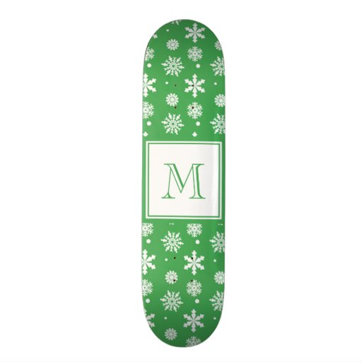Green and White Snowflakes Pattern 1 with Monogram Skateboards