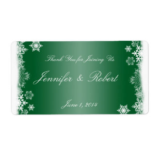 Green and White Snowflakes Wedding Water Label Shipping Label