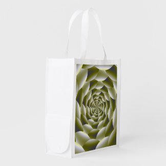 Green and White Spiral Grocery Bag