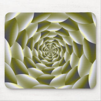 Green and White Spiral Mousepad