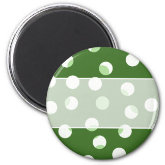 Green and white spotty pattern. 6 cm round magnet