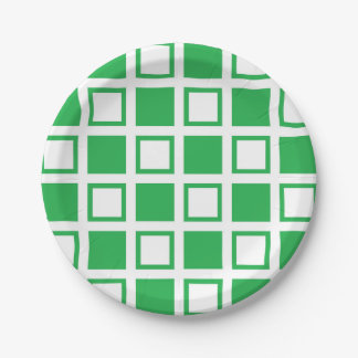 Green and White Squares Paper Plate