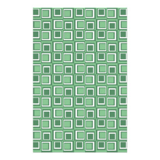 Green and White Squares Stationery