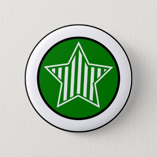 Green and White Star Button