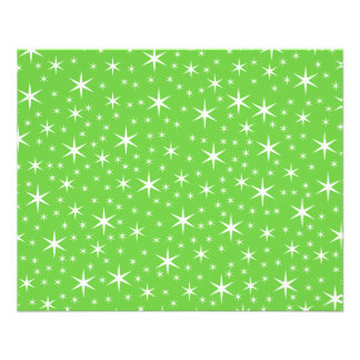 Green and White Star Pattern. 11.5 Cm X 14 Cm Flyer