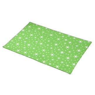 Green and White Star Pattern. Placemat