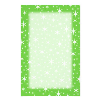 Green and White Star Pattern. Stationery