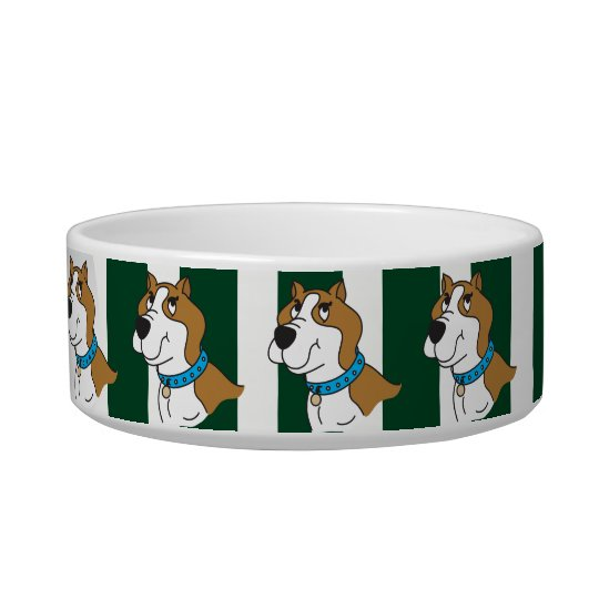 Green and White Stripe and Pitbull - DIY Name Bowl
