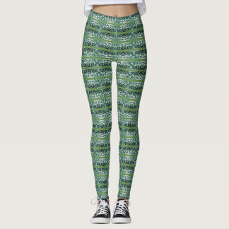 Green and White Stripe Pattern Leggings
