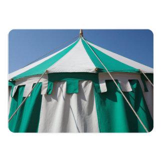 Green and White Striped Circus Tent 13 Cm X 18 Cm Invitation Card