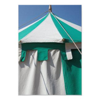 Green and White Striped Circus Tent 9 Cm X 13 Cm Invitation Card