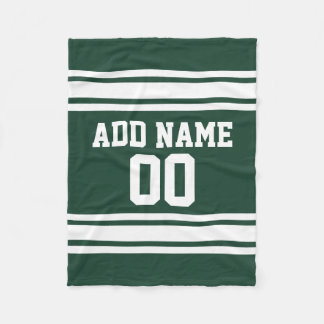 Green and White Striped Sports Jersey Personalized Fleece Blanket