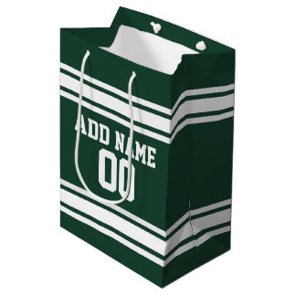 Green and White Striped Sports Jersey Personalized Medium Gift Bag
