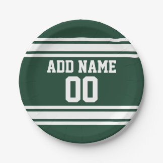 Green and White Striped Sports Jersey Personalized Paper Plate
