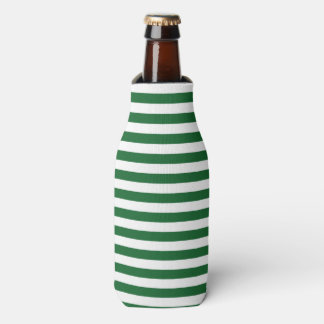 Green and White Stripes Can or Bottle Cooler