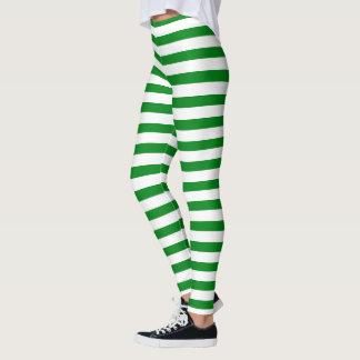 Green and White Stripes Christmas Elf Pattern Leggings