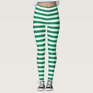 Green And White Stripes Leggings