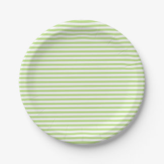 Green and White Stripes Paper Plate