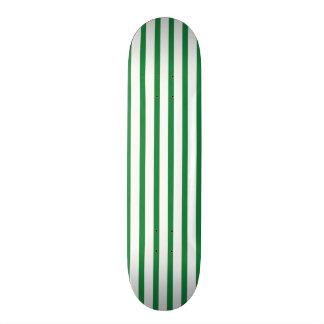 Green and White Stripes Skateboard Deck