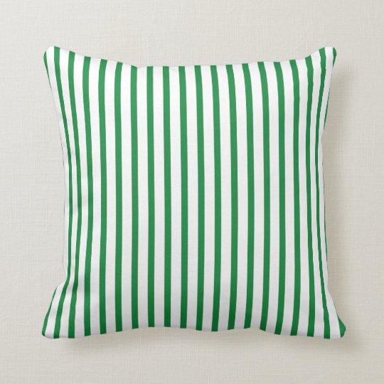 Green and White Stripes Throw Pillow