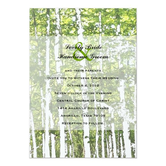 Green and White Summer Woods Wedding Card