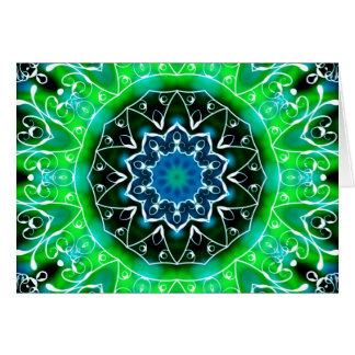 Green and White Swirl Kaleidoscope Mandala Cards