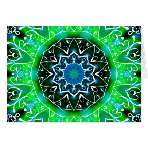 Green and White Swirl Kaleidoscope Mandala Cards