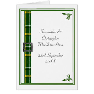 Green and white tartan ribbon 2 card
