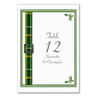 Green and white tartan ribbon card