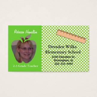 Green and White Teacher's Photo Business Card