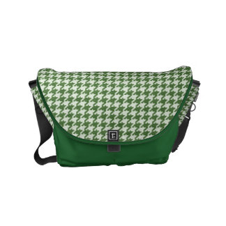 Green and White Textured Houndstooth Pattern Messenger Bag
