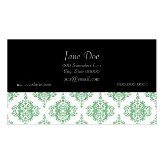 Green and White Victorian Style Damask Pack Of Standard Business Cards