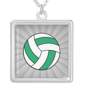 green and white volleyball square pendant necklace