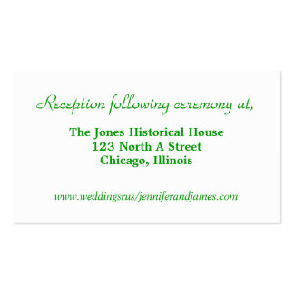 Green and White Wedding enclosure cards Business Cards