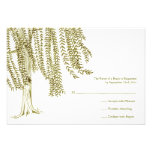 Green and White Willow Tree Wedding RSVP Personalized Invitations