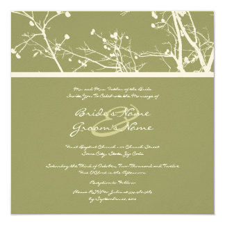 Green and White Winter Tree Wedding Invitation