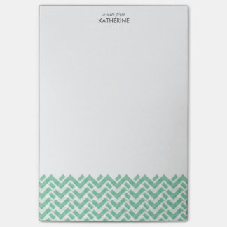 Green and White Woven Chevron Post-it Notes