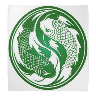 Green and White Yin Yang Koi Fish Bandana