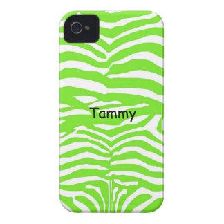 Green and White Zebra Print iPhone 4 Cover
